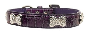 Faux Croc Crystal Bone Collars Purple Extra Small